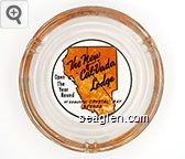 The New Cal-Vada Lodge, Open The Year Round at beautiful Crystal Bay Nevada, Crystal Bay - Black and orange imprint Glass Ashtray