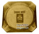 Casino West, Yerington, Nevada - Black imprint Glass Ashtray