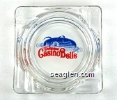 Dubuque Casino Belle - Red and blue on white imprint Glass Ashtray