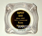 Depot Bar, Phone 8937, 124 E. Commercial, Reno Nevada - Yellow on black imprint Glass Ashtray