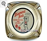 Diamond Jim's Gambling Hall and Saloon, Jackpot Nevada - Red and black on white imprint Glass Ashtray