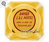 David's L&L Motel, Hwy. 6 and 95, Tonopah, Nev. - Red on white imprint Glass Ashtray