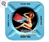 Swiped From, Doll House, Reno, Nevada, Phone FA .3-9564 - Black imprint Metal Ashtray