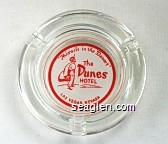 ''Miracle in the Desert'', The Dunes Hotel, Las Vegas, Nevada - Red on white imprint Glass Ashtray