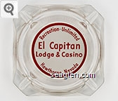 Recreation-Unlimited, El Capitan, Lodge & Casino Hawthorne, Nevada - Red on white imprint Glass Ashtray