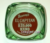 Barney's El Capitan Lodge & Casino, $25,000 Keno Hawthorne, Nevada - White on red imprint Glass Ashtray