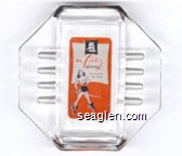 El Cortez Hotel, Las Vegas, Nevada - Black and orange imprint Glass Ashtray