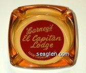 ''Barney's'' El Capitan Lodge, Hawthorne, Nev. - White on red imprint Glass Ashtray