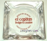 Recreation-Unlimited, el capitan lodge & casino, Hawthorne, Nev. - Red imprint Glass Ashtray