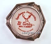 Sportsmen's Headquarters, El Cortez Hotel & Casino, Downtown Las Vegas - Red imprint Glass Ashtray