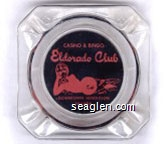 Casino & Bingo, Eldorado Club, Downtown Henderson Nevada - Pink on black imprint Glass Ashtray