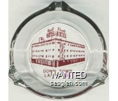 Hotel Elwell, Down Town, Las Vegas - Red on white imprint Glass Ashtray