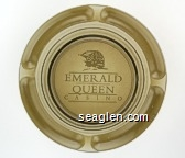 Emerald Queen Casino - White imprint Glass Ashtray
