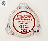 El Rancho Motels - Bar, 3310 So. Virginia, 777 E. 4th, Ph. FA. 2-8565, 3-1031, Reno - Red imprint Glass Ashtray