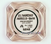 El Rancho Motels - Bar, 3310 So. Virginia, 777 E. 4th, Ph. FA. 2-8565, 3-1031, Reno - Black imprint Glass Ashtray