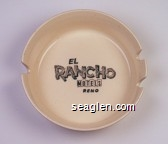 El Rancho Motels Reno, 2 Locations - 3310 S. Virginia Rd. - FA 2-8565, 777 E. 4th St. - FA 3-1031 - Black imprint Porcelain Ashtray