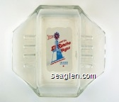 Hotel El Rancho Vegas, Look For The Wind Mill, Las Vegas Nevada - Red and blue on white imprint Glass Ashtray