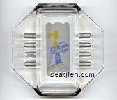 Hotel El Rancho Vegas, Look For The Wind Mill, Las Vegas Nevada - Blue and yellow on white imprint Glass Ashtray