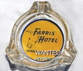 Farris Hotel, Winnemucca, Nevada - Blue on yellow imprint Glass Ashtray