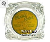 Farris Hotel, Cocktail Lounge, Strictly Modern, Tom Harren, Jack Sommers, Winnemucca, Nev. - Gray on yellow imprint Glass Ashtray