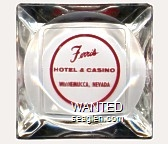 Ferris Hotel & Casino, Winnemucca, Nevada - Red imprint Glass Ashtray