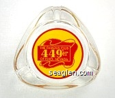The Famous Club 449'er, of Elko Nevada - Red on yellow imprint Glass Ashtray