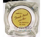 Phone 32?, French Hotel and Bar, Gardnerville, Nevada - Brown on yellow imprint Glass Ashtray