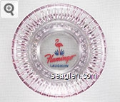 Flamingo Laughlin - Pink and blue imprint Glass Ashtray