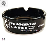 Flamingo Capri, Hotel & Casino, Las Vegas 3535 Las Vegas Blvd. So. (In the Heart of the Strip) Las Vegas, Nevada 702-735-4333, featuring Shangri-La the most beautiful pool in Las Vegas - White imprint Glass Ashtray