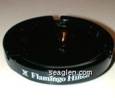 Flamingo Hilton - White imprint Glass Ashtray