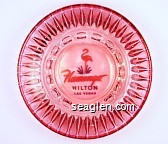 Flamingo Hilton, Las Vegas - Pink and green imprint Glass Ashtray