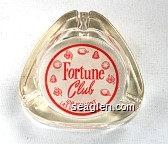 Fortune Club, 109 Fremont, Las Vegas, Nevada - Red on white imprint Glass Ashtray