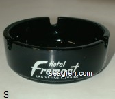 Hotel Fremont, Las Vegas, Nevada - White imprint Glass Ashtray