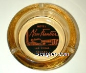 Hotel New Frontier, Las Vegas, Nevada - Pink on black imprint Glass Ashtray