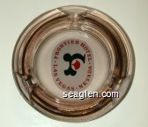 Frontier Hotel, Las Vegas - Nevada - Red and black on white imprint Glass Ashtray