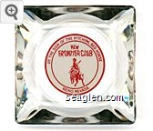 At the Sign of the Pitching Red Horse, New Frontier Club, Reno, Nevada - Red on white imprint Glass Ashtray