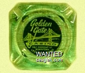 Golden Gate Casino, No. 1 Fremont St., Downtown, Las Vegas, Nevada - White on black imprint Glass Ashtray