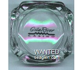 Gila River Casino - Black imprint Glass Ashtray