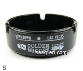 Downtown - Las Vegas, Golden Nugget, Gambling Hall - Saloon - White imprint Glass Ashtray