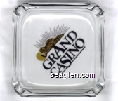 Grand Casino - Gold and black imprint Glass Ashtray