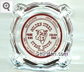 Rex Littleton, Chuck Hensley, Golden Steer Steak House, Prime Ribs, Italian Food, Phone DU 4-4470, 308 W. San Francisco, Las Vegas, Nevada - Red imprint Glass Ashtray