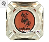Hacienda - Black on orange imprint Glass Ashtray