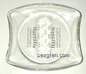 Harrah's Reno and Lake Tahoe - Black imprint Glass Ashtray