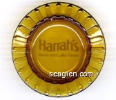 Harrah's Reno Hotel Casino - White imprint Glass Ashtray