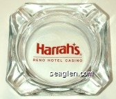 Harrah's, Reno Hotel Casino - Red imprint Glass Ashtray