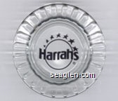 Harrahs - Black imprint Glass Ashtray