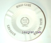 Bingo Game, Harrah's Reno, Nevada, Good Luck - Gold imprint Porcelain Ashtray