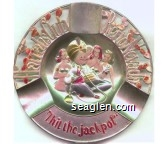 Harrah's Club, Reno Nevada, ''I hit the jackpot'' - Multicolor imprint Metal Ashtray