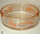 Harrah's, Reno and Lake Tahoe - Orange imprint Glass Ashtray