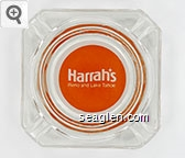 Harrah's, Reno and Lake Tahoe - White on orange imprint Glass Ashtray